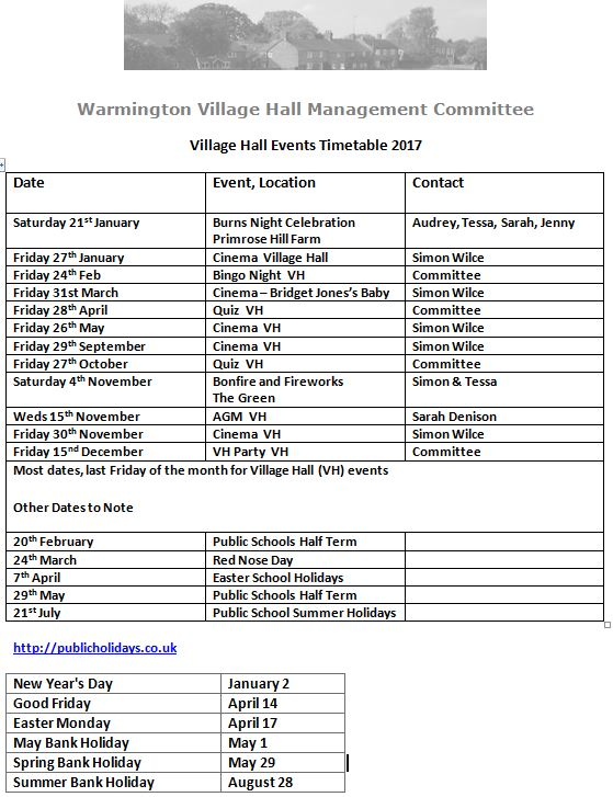 Village Hall events